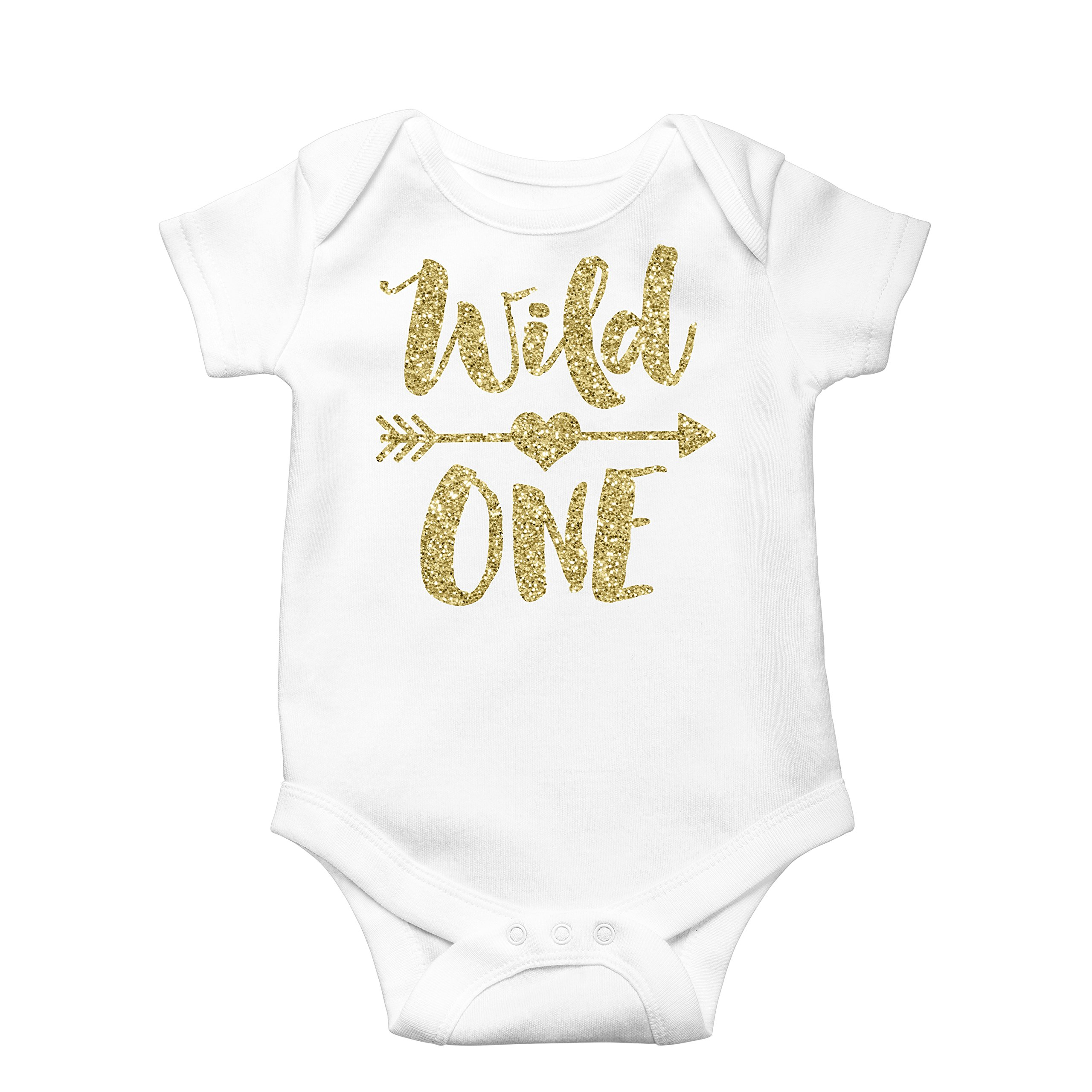 Olive Loves Apple Wild One Gold Glitter Girls 1st Birthday Bodysuit,Gold,6-12 months short sleeve