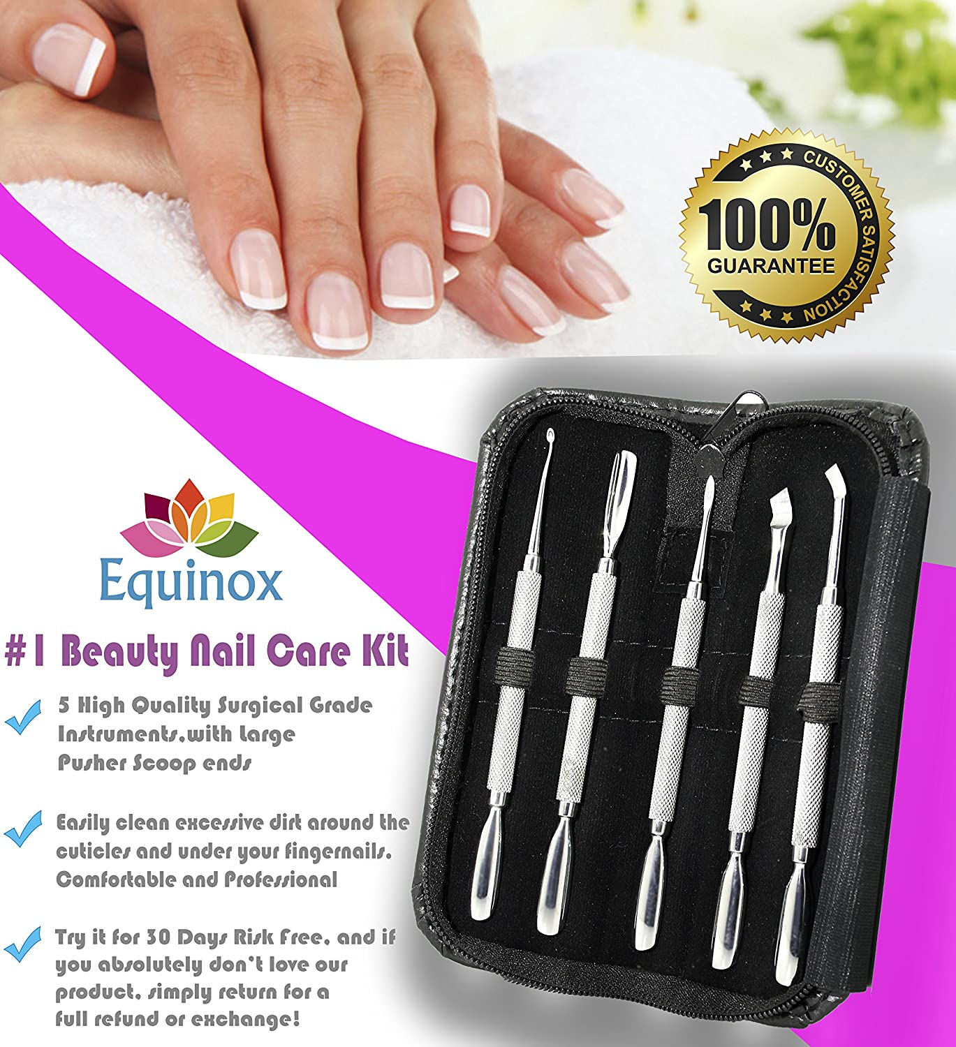 Amazon.com : Equinox 5-Piece Cuticle Pushers & Cleaners Kit ...