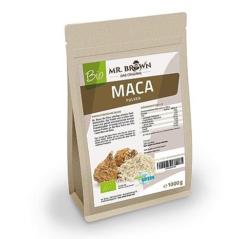 Mister Brown - Maca biológica de Perú en polvo, 1 kg, calidad premium |