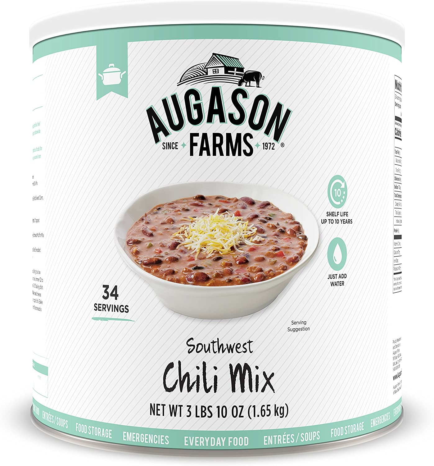 Augason Farms Southwest Chili Mix Net wt. 3 lbs 10 oz (1.65 kg)
