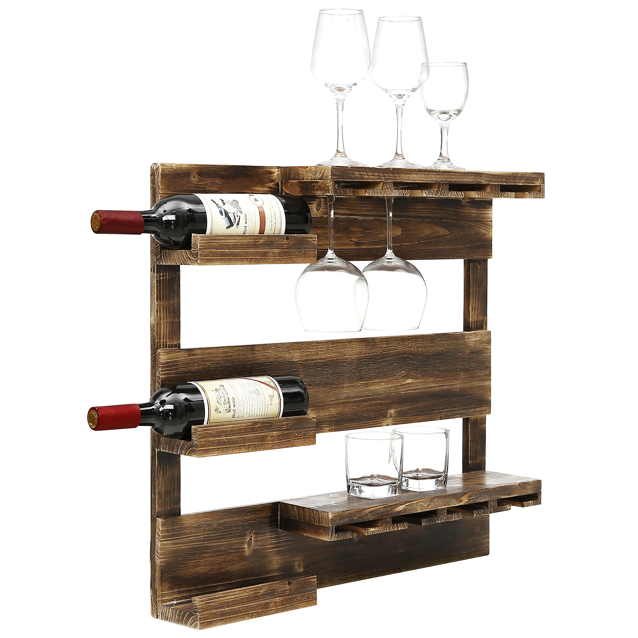 Rustic Burnt Wood Wall Mounted 8 Stemware Glass Holder with Liquor & Wine Bottle Display Shelves