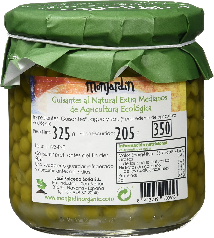 El Navarrico Guisante de Cultivo Ecológico - Paquete de 3 x 325 gr - Total: 975 gr