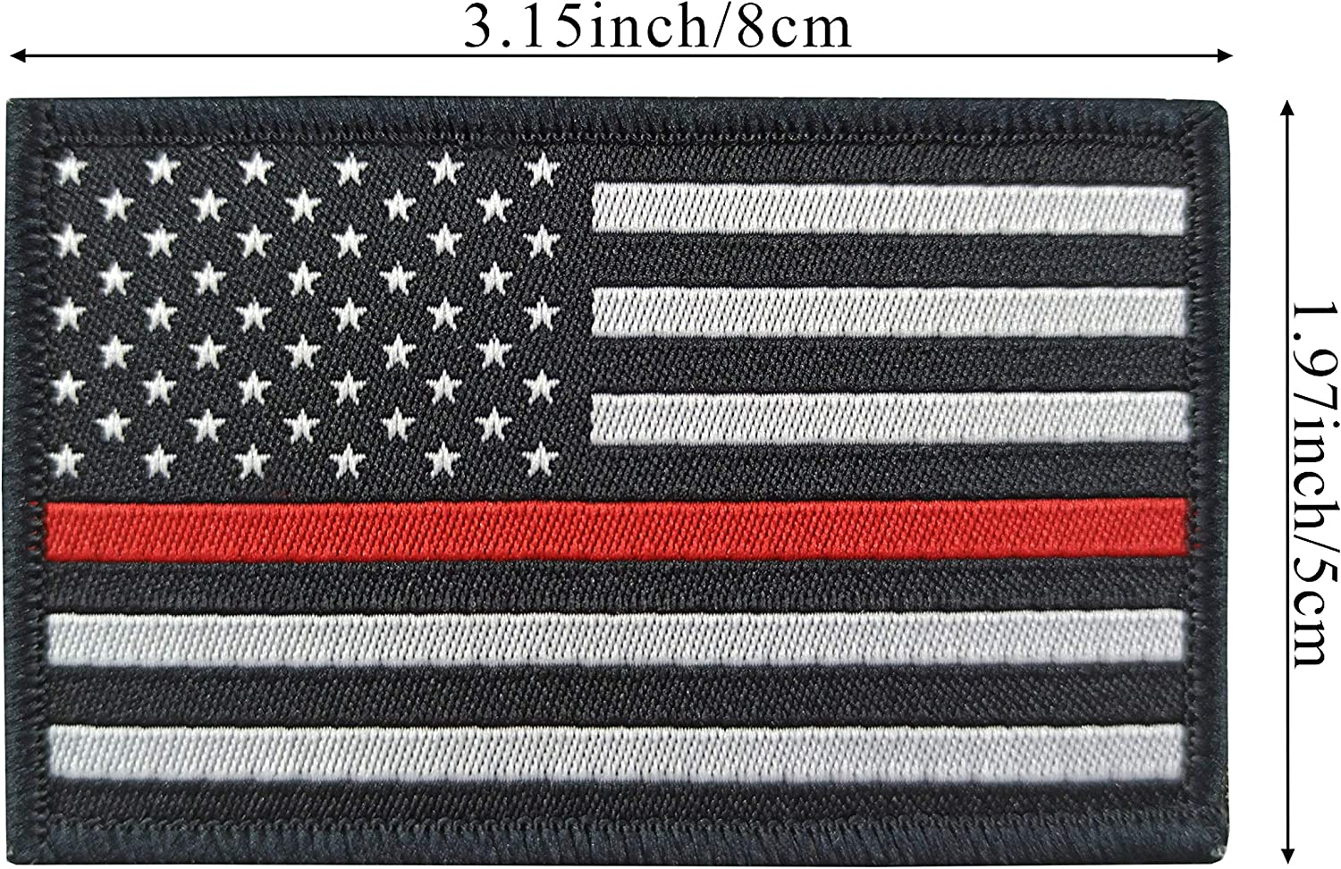 JBCD 2 Pack American Thin Red Line Flag Patch USA Firefighter Flags Tactical Patch Pride Flag Velcro Patch for Clothes Hat Patch Team Military Patch