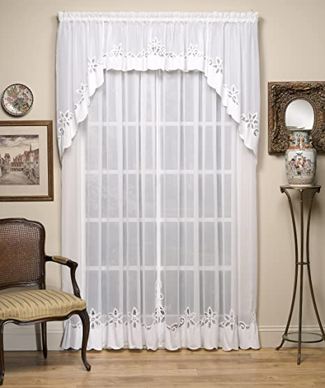 Amazon Com Today S Curtain Plymouth Classic Battenburg Applique Sheer Window Panel 84 Inch White Home Kitchen
