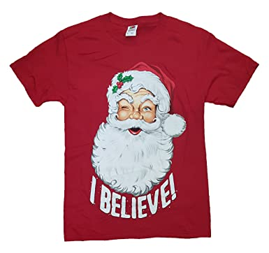 Christmas Santa Claus I Believe! Red Graphic T Shirt   2XL