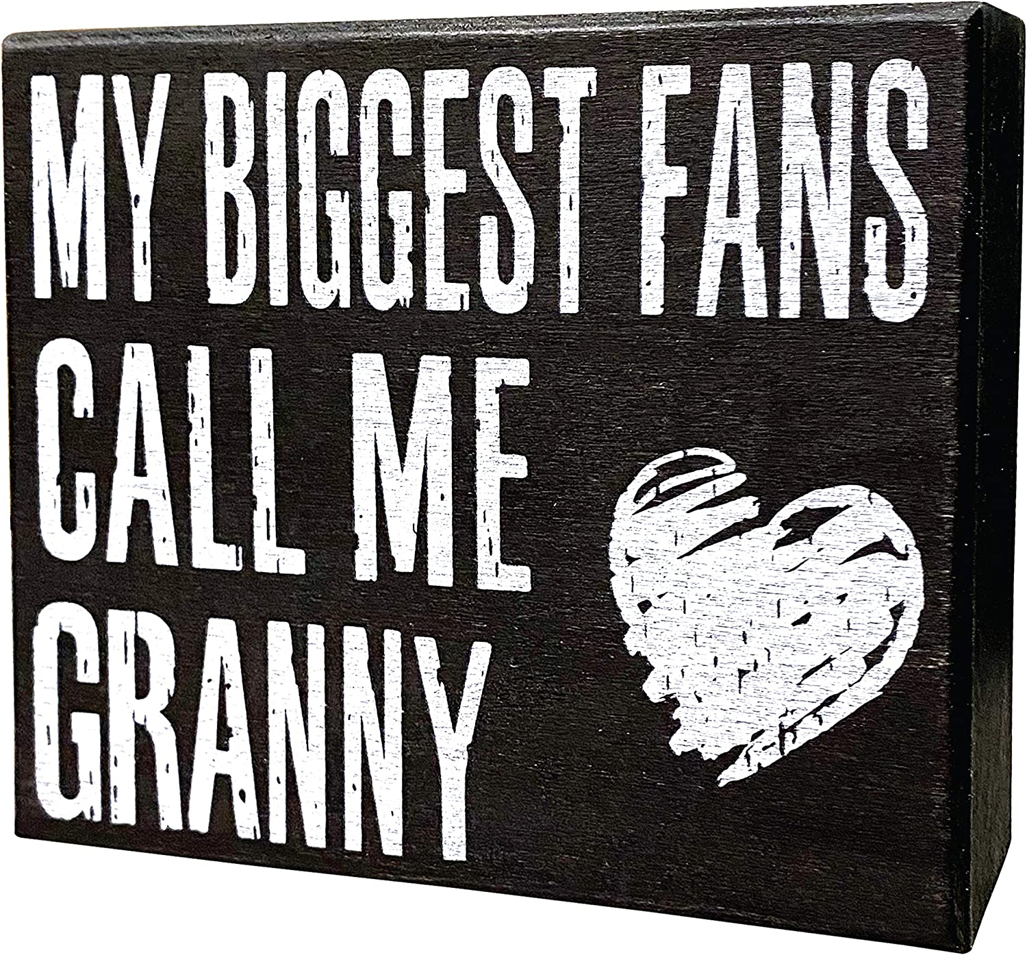 JennyGems My Biggest Fans Call Me Granny | Stand Up Wood Box Sign | Gifts for Granny | Granny Plaque | Granny Gift | Shelf Knick Knacks