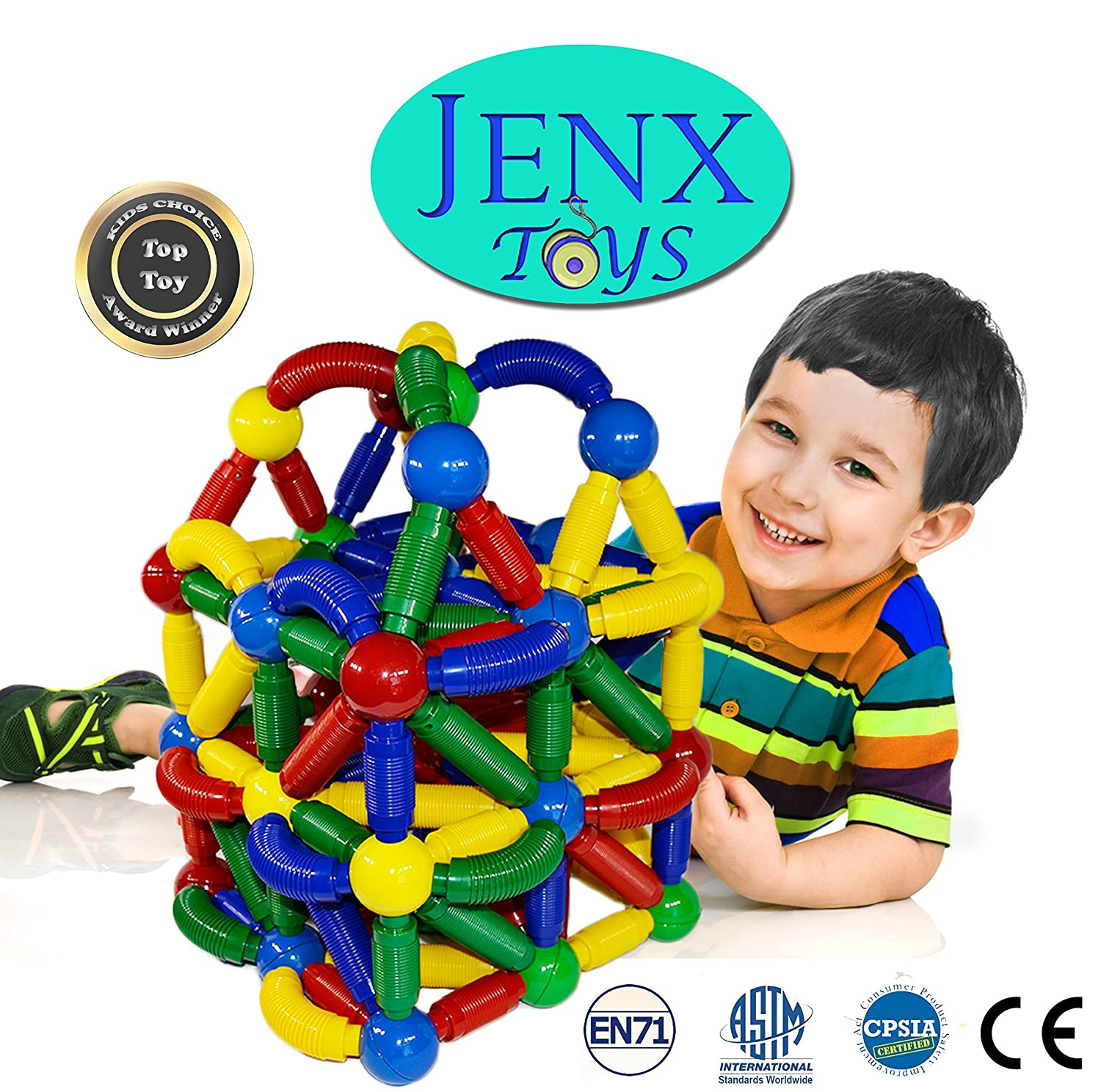 Jenx Toys Jumbo 60 PCS Magnetic Rods and Balls Building Blocks | Construction Stacking Building Set | Award Winning Top Toys Review