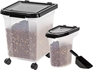 IRIS USA Airtight Food Storage Combo with Scoops MP-350/MP-220/SCP-2, Black, 6 & 25 lb (300571)