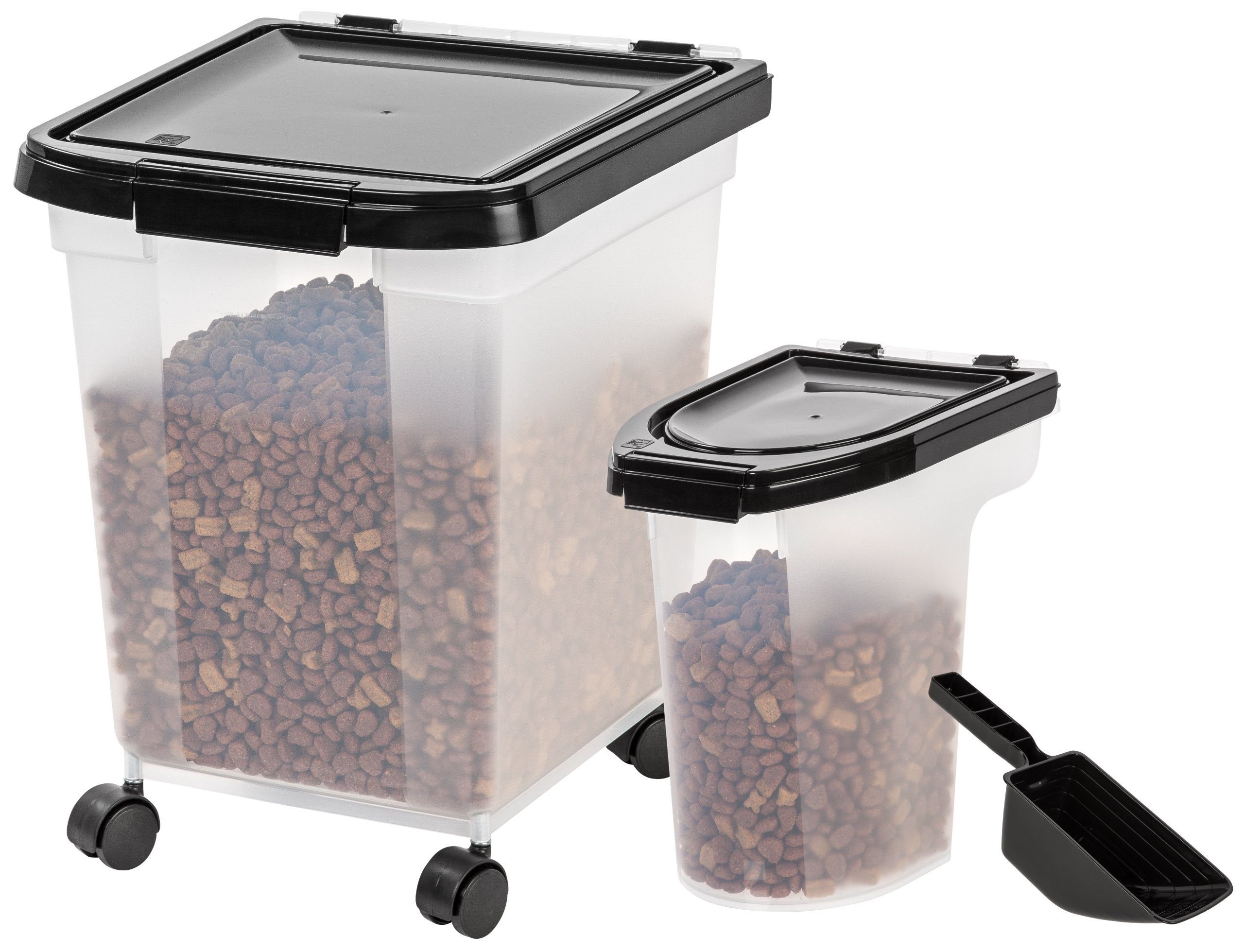 IRIS Nesting Airtight Pet Food Container Black Combo 25 and 6-Pound