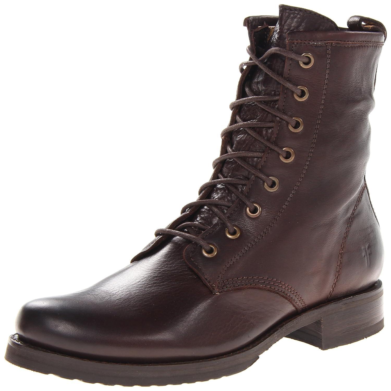 FRYE Women's Veronica Combat Boot B008BUKA3I 6.5 B(M) US|Dark Brown Soft Vintage Leather