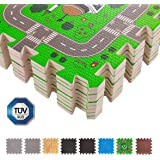 BodenMax CRS-FL3010MAP-18 tappeto colorato per bambini, dimensioni 30cm x 30 cm x 1 cm, con puzzle, tappeto da gioco per bambini (2 sets di 9 pezzi, ogni set forma un disegno) 1,62 m²
