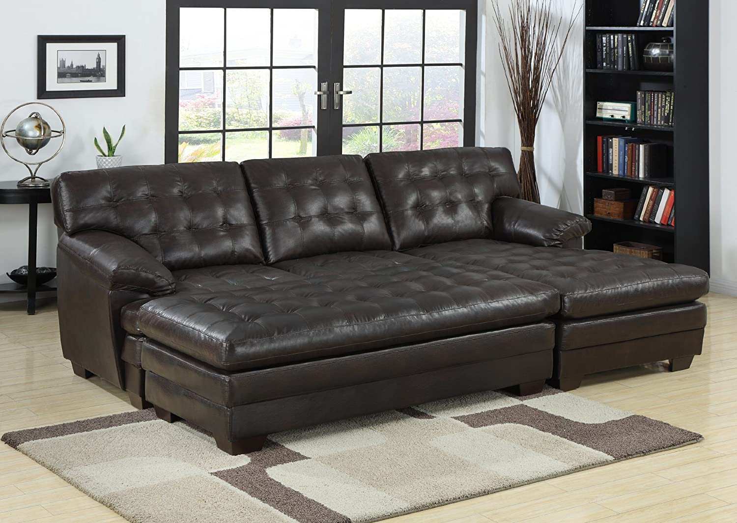 Amazoncom Homelegance 9739 ChannelTufted 2Piece Sectional Sofa