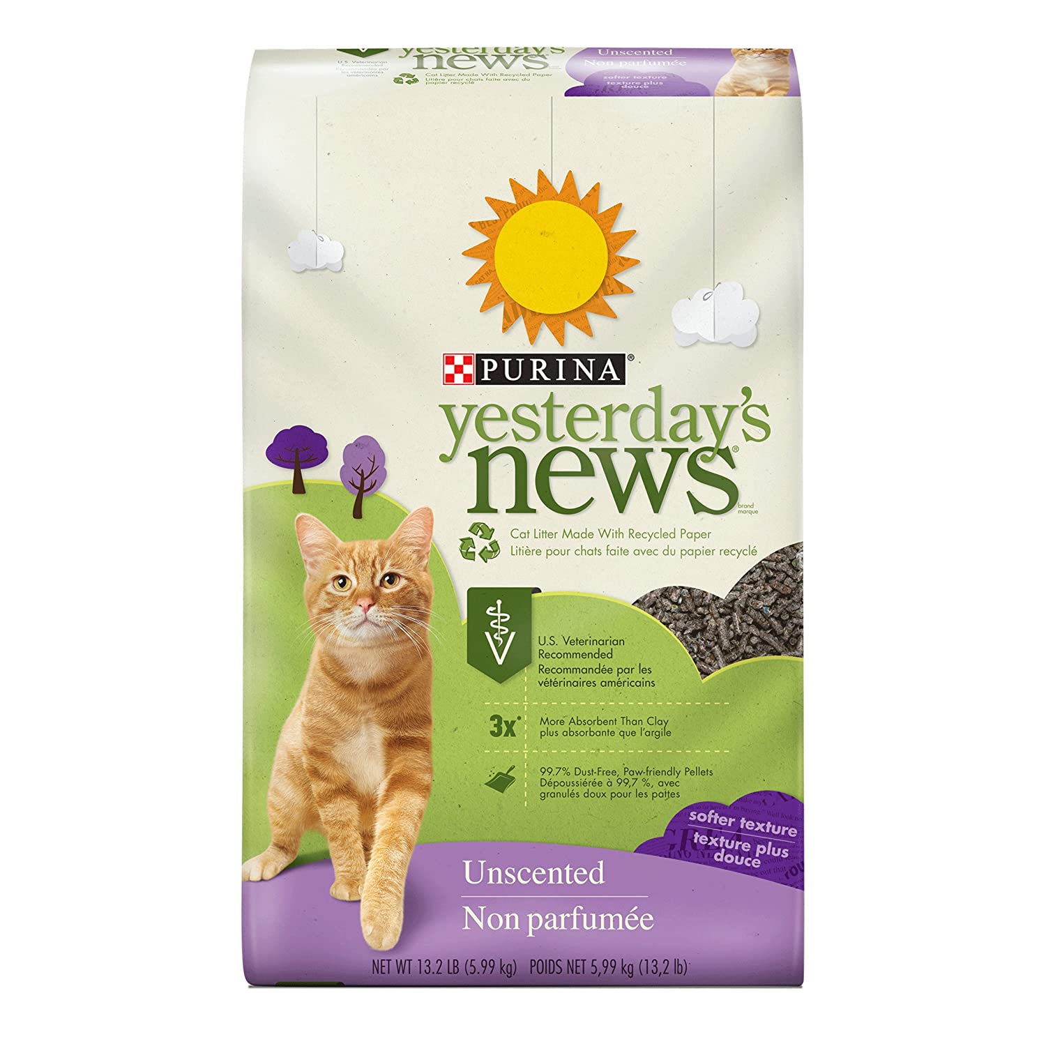 Purina Yesterday's News Non Clumping Paper Cat Litter, Softer Texture Unscented Cat Litter - 13.2 lb. Bag