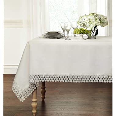 GoodGram Ultra Luxurious Textured Macrame Trim Fabric Tablecloth Assorted Sizes & Colors - White, 60  x 90  Rectangle (6-8 Chair)