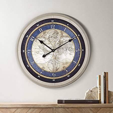 Newhill Designs Navigaror 23 1 2 Round World Map Wall Clock