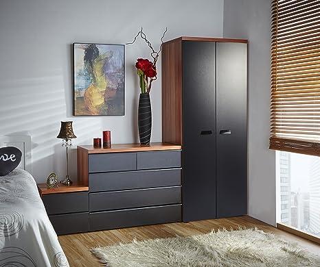 Mmt - Trittico per camera da letto, California, colore: nero / noce ...