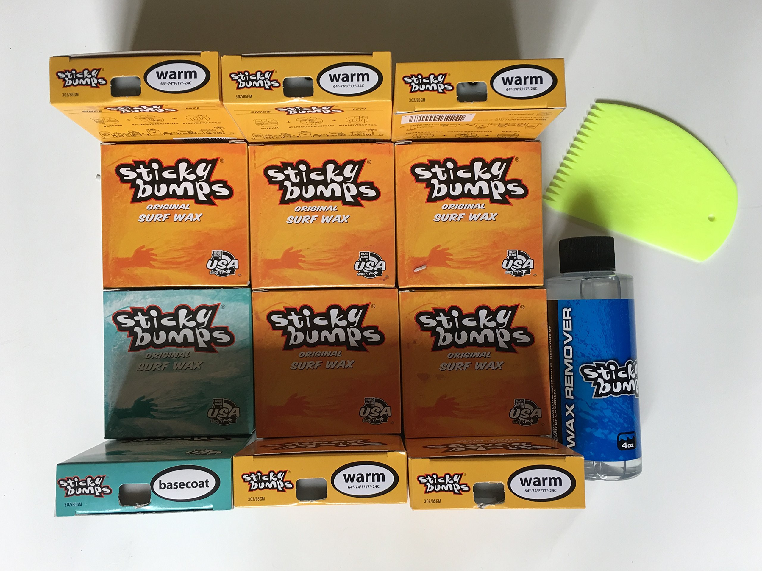 Sticky Bumps Surfboard Wax 10 WARM 2 Base 4oz Remover Wax Comb by Sticky Bumps