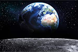 Great Art Photo Wallpaper Earth from Moon Decoration 210x140 cm / 82.7x55in – Outer Space Satellite View Planet Orbit Galaxy Universe Moon Landing Mural – 5 Pieces Includes Paste
