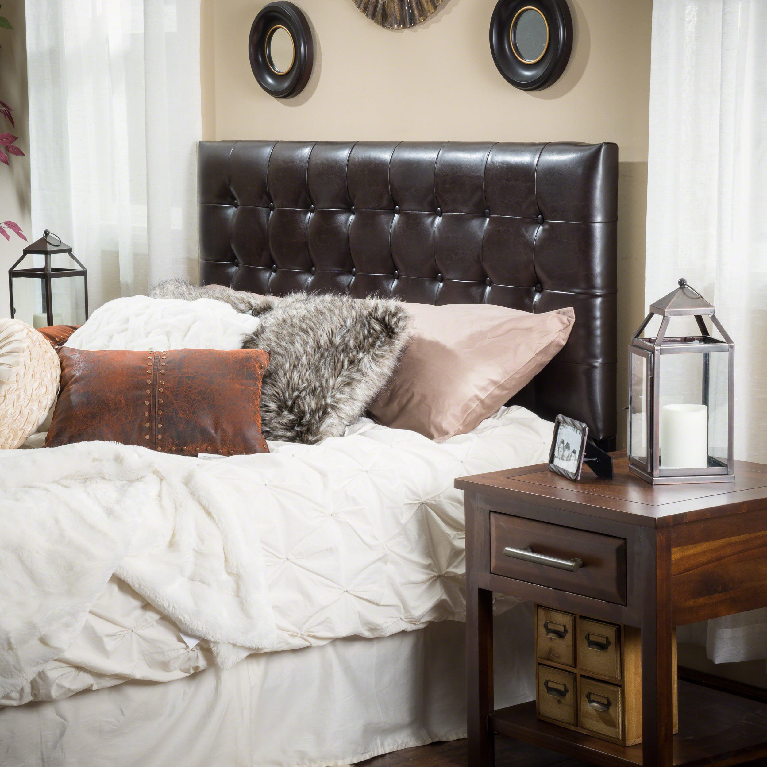 Christopher Knight Home Lansing King to Cal King Adjustable Brown Tufted Leather Headboard by Christopher Knight Home