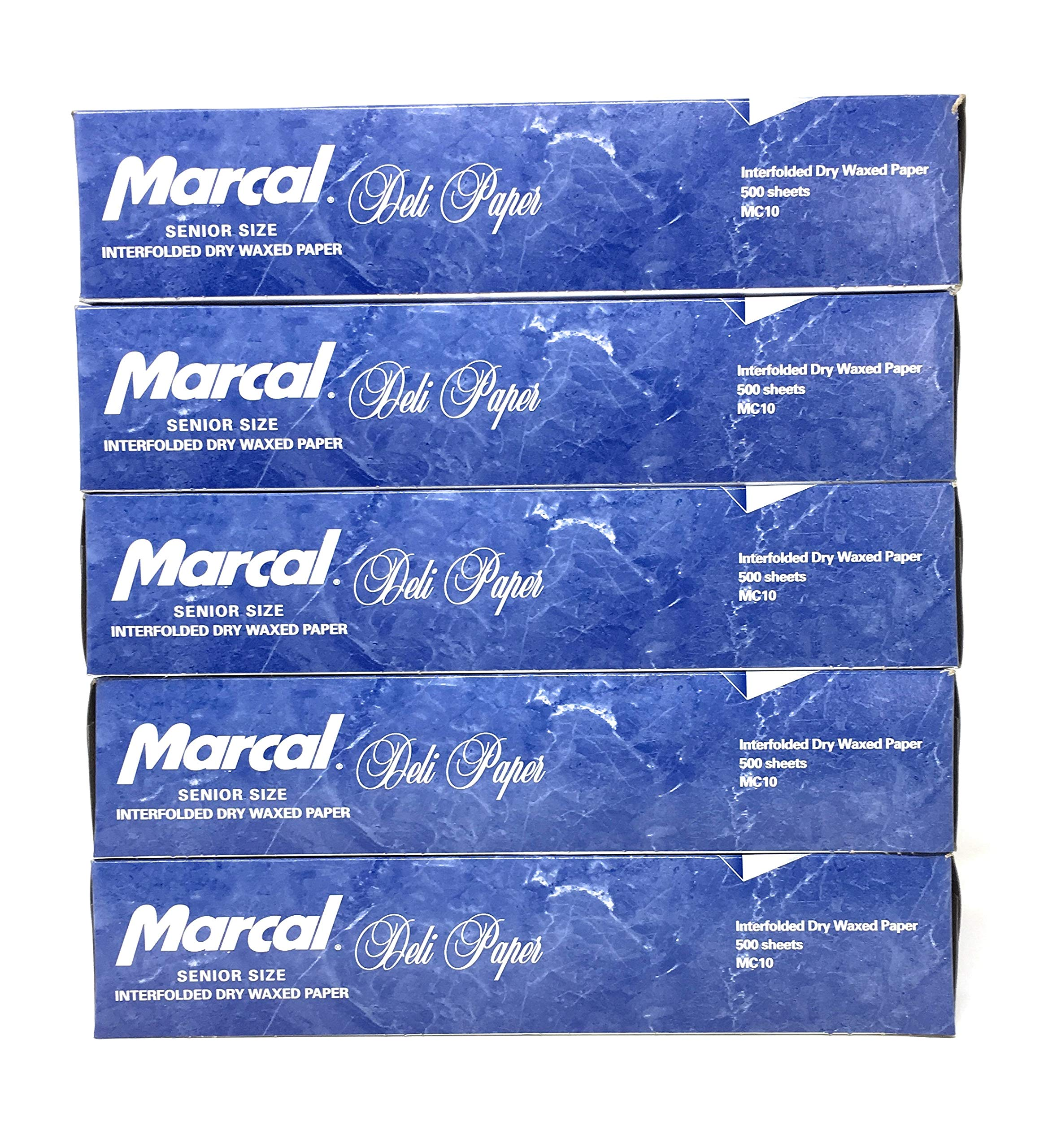 Marcal Deli Wrap Interfolded Wax Paper. Dry Waxed Food Liner Senior Size 10 Inch by 10.75 Inch. Total of 2500 Sheets. (5 Packs of 500 Sheets) by Marcal Co. (Image #1)