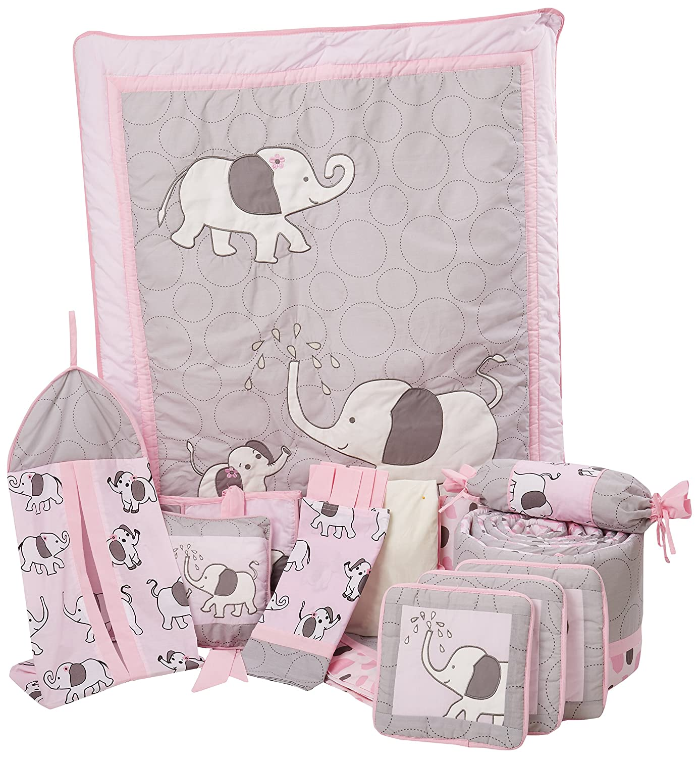 Boutique Pink Gray Elephant 13pcs Crib Bedding Sets GEENNY CRIB-CF-2069