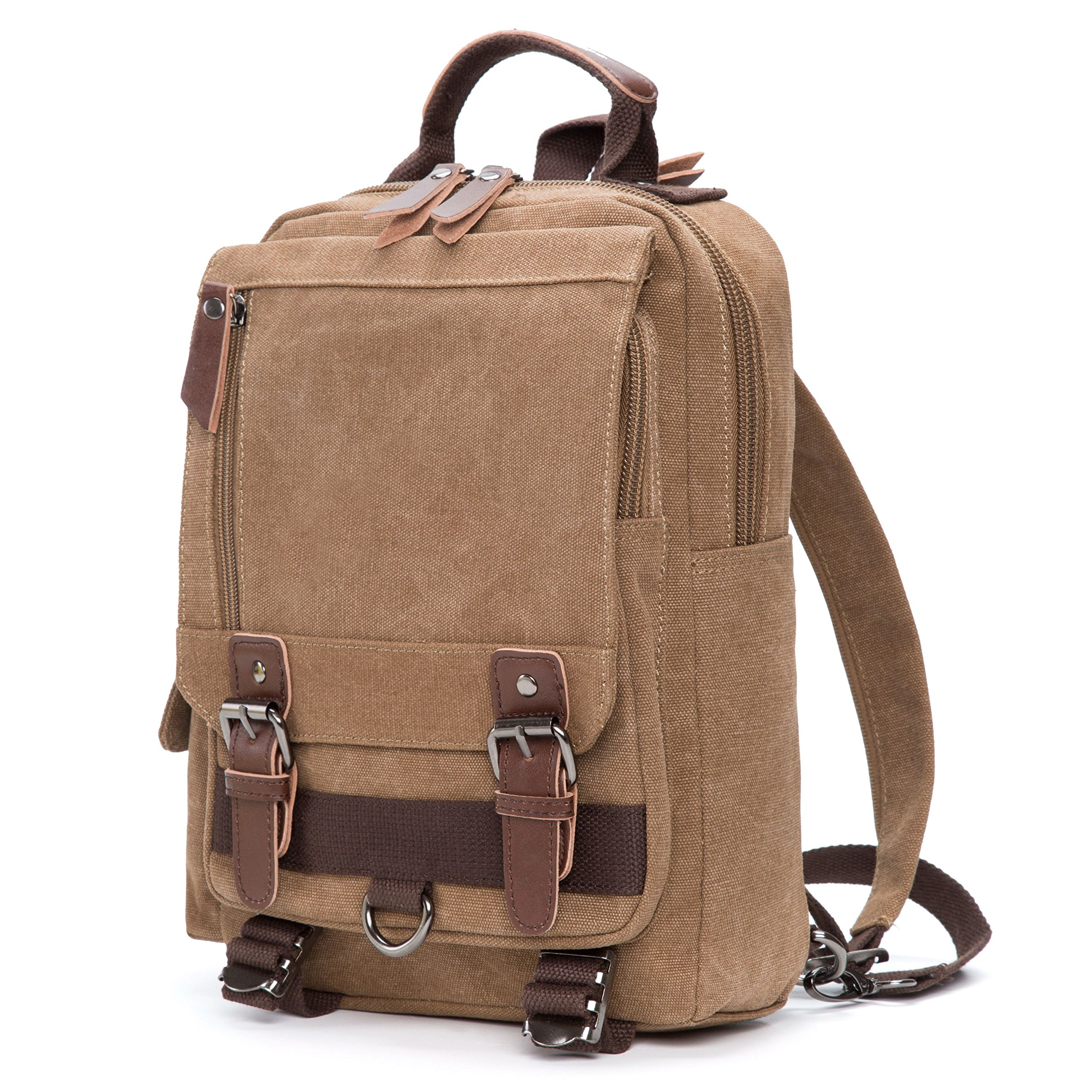 Small Canvas Rucksack Unisex Vintage Backpack Convertible Sling Messenger Bag for Men/Women (Coffee)