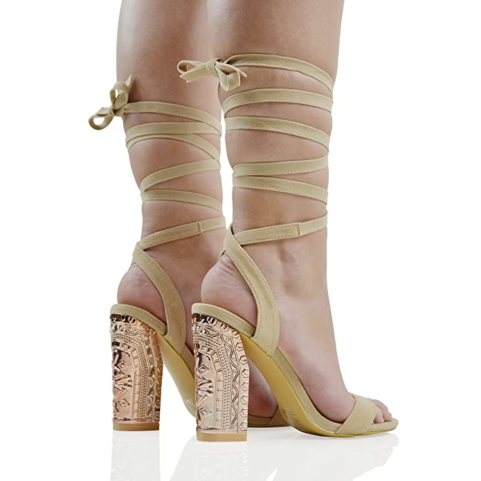 ce6a6cecd9e97 ESSEX GLAM Womens Lace Up Heels Ladies Chrome Block Heel Strappy Rhinestone  Faux Suede Open Toe Dressy Sandals