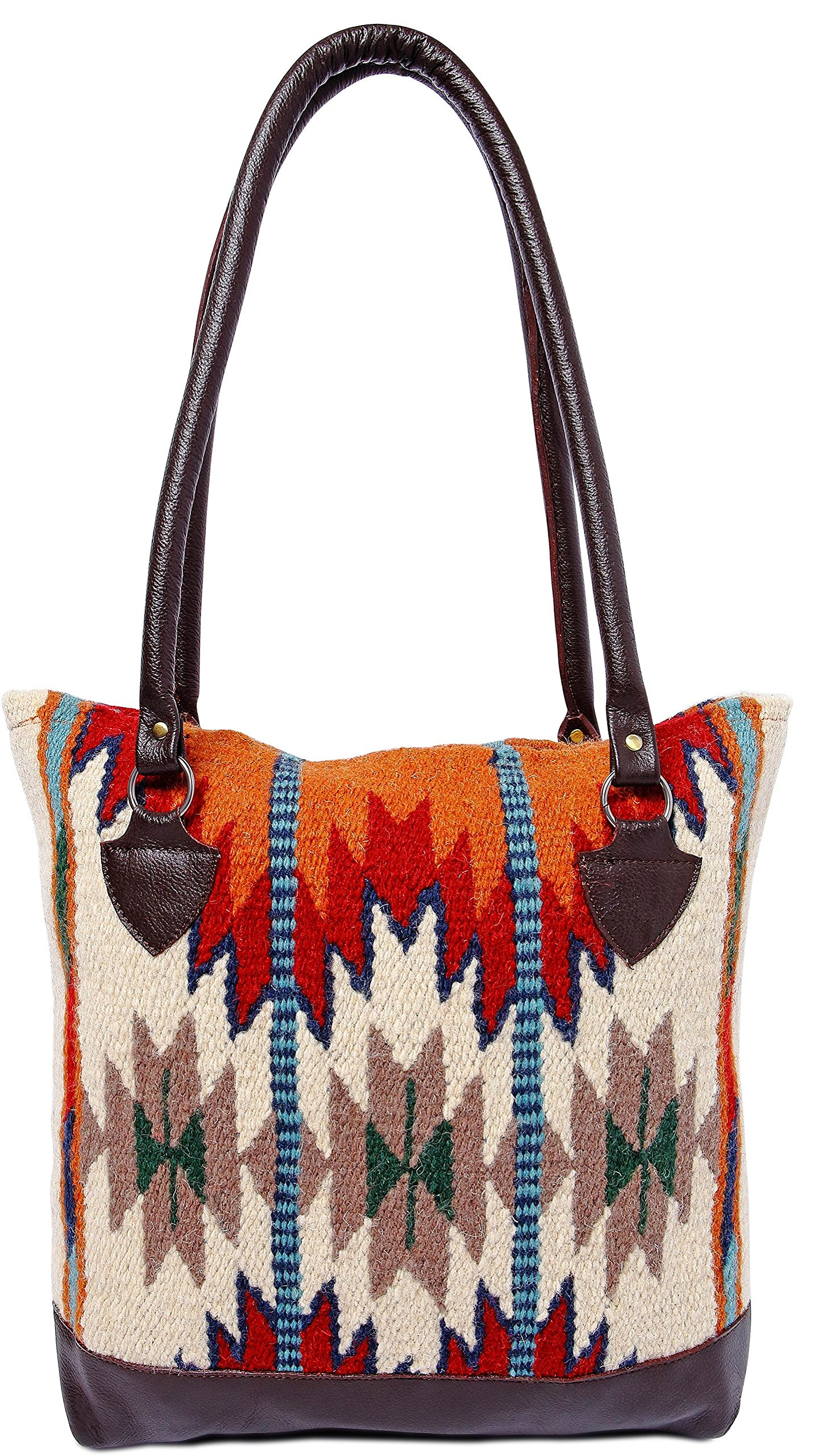 Genuine Leather Large Eco Friendly Tote Bag, Native American Styles on Hand-Woven Wool (Earth Dancer)