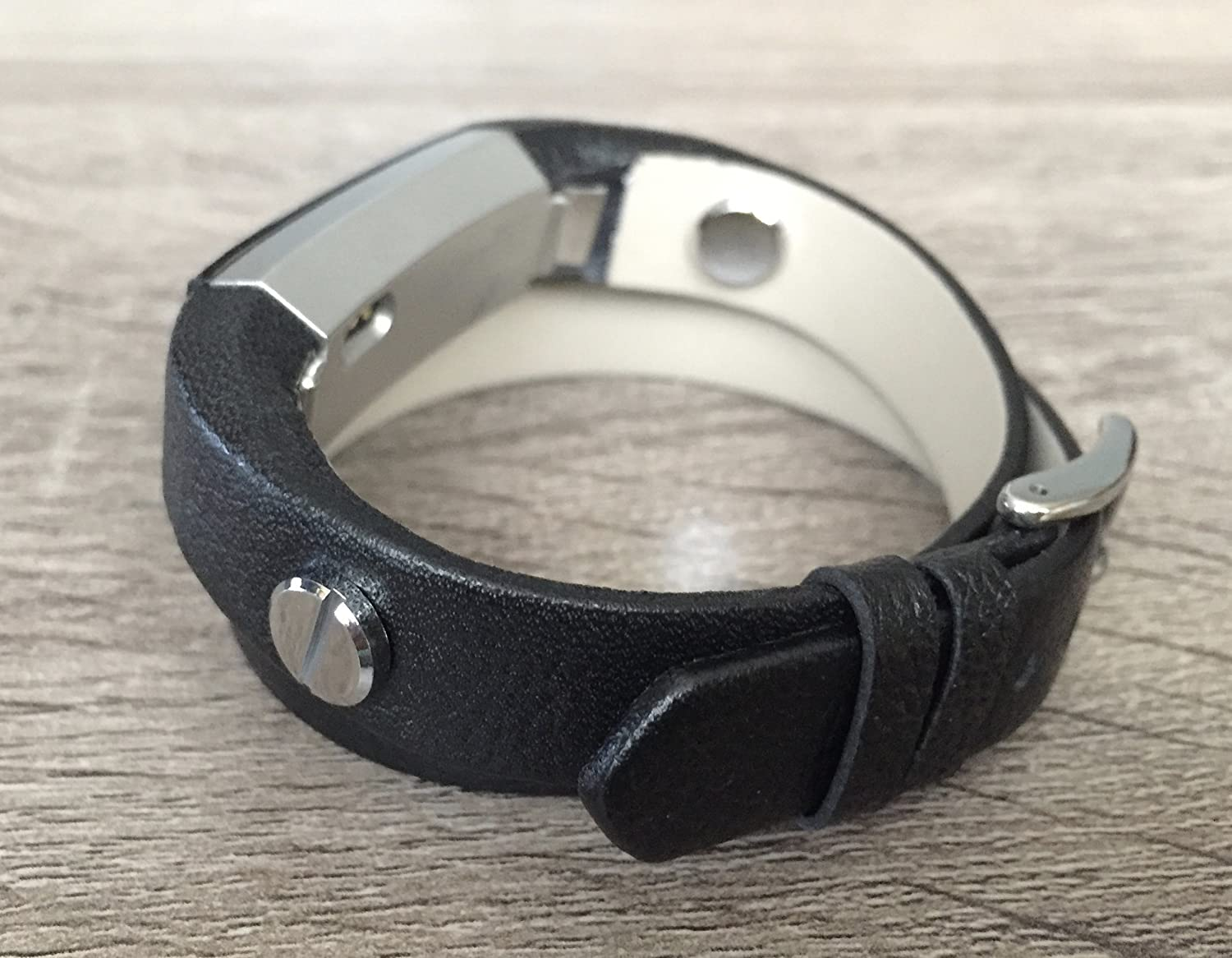 Black Genuine Leather Band For Fitbit Alta//Alta HR Tracker Handmade Double Wrap Grained Design Adjustable Size Fitbit Alta Bracelet Two Silver Metal Jewelry Rivets Fashion Fitbit Alta Band