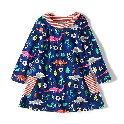 50630a603cd Amazon.com  Zebra Fish Girls Cotton Cute Long sleeve Casual Dresses Good  print and stripe pockets size 7-8  Clothing