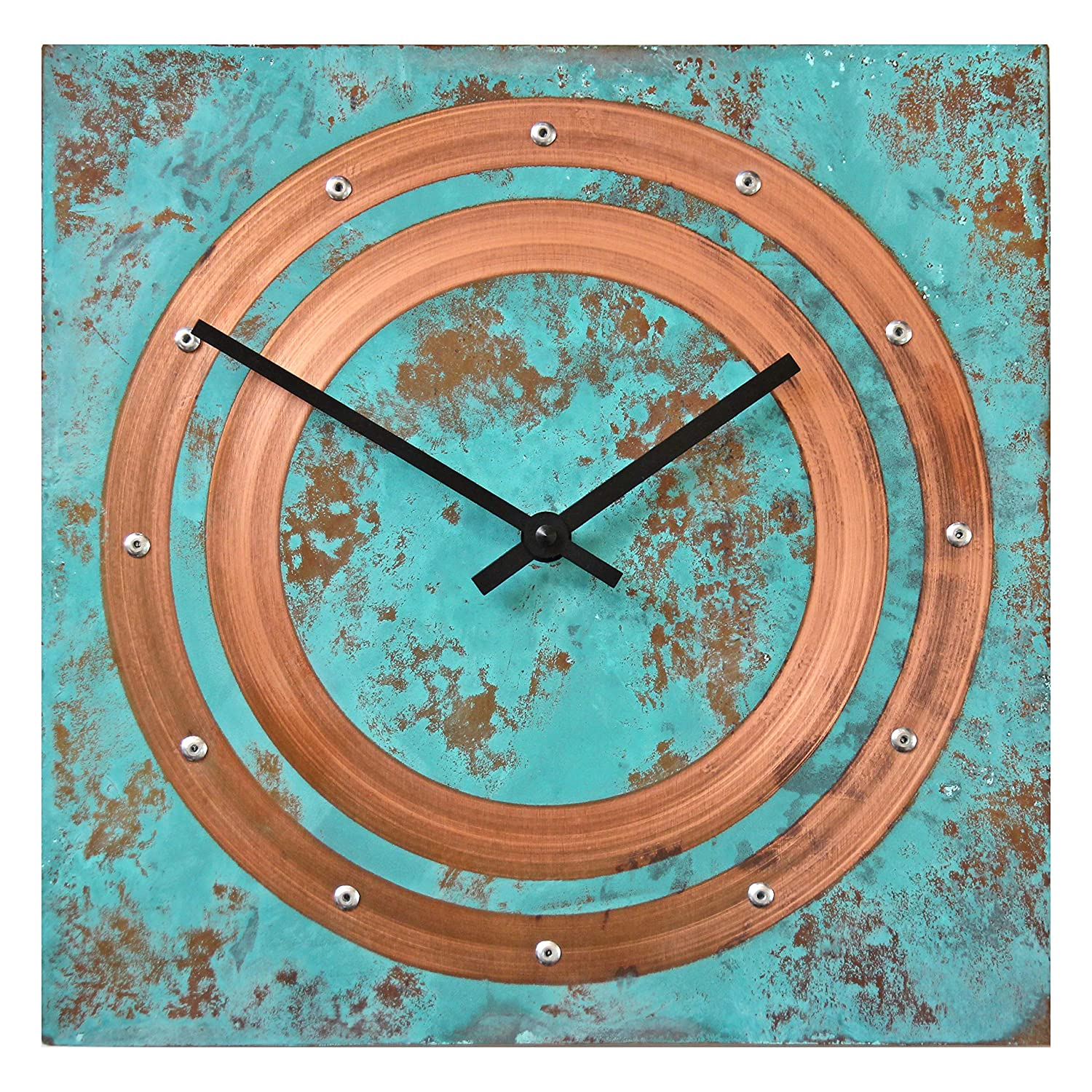 Large Square Turquoise Copper Wall Clock 12-inch - Silent Non Ticking Gift for Home/Office/Kitchen/Bedroom/Living Room