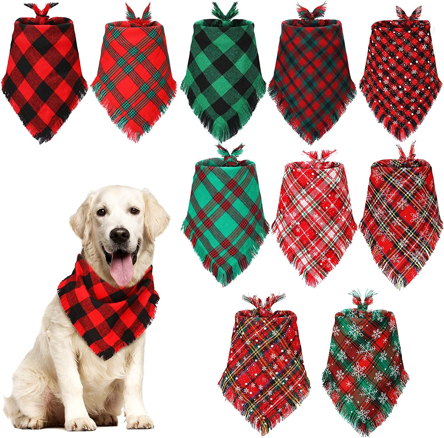 JPB Dog Christmas Bandanas Plaid Reversible Triangle Bibs Scarf Accessories for Dogs Cats