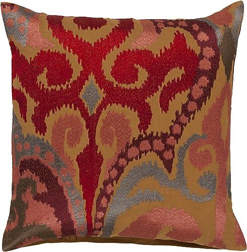 Surya AR077-2222D Down Fill Pillow, 22 by 22-Inch, Mocha