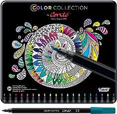 BIC Color Collection por Conte Coloring Rotuladores, Fine Point, varios colores, 20-Count