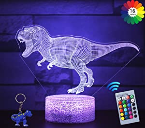 Carryfly Dinosaur Toys 3D Night Light for Kids with Remote & Smart Touch 16 Colors Change,Dimmable Kids Night Light Gift Optical Illusion Lamps Good Ideas for Boys or Kids Birthday Gift