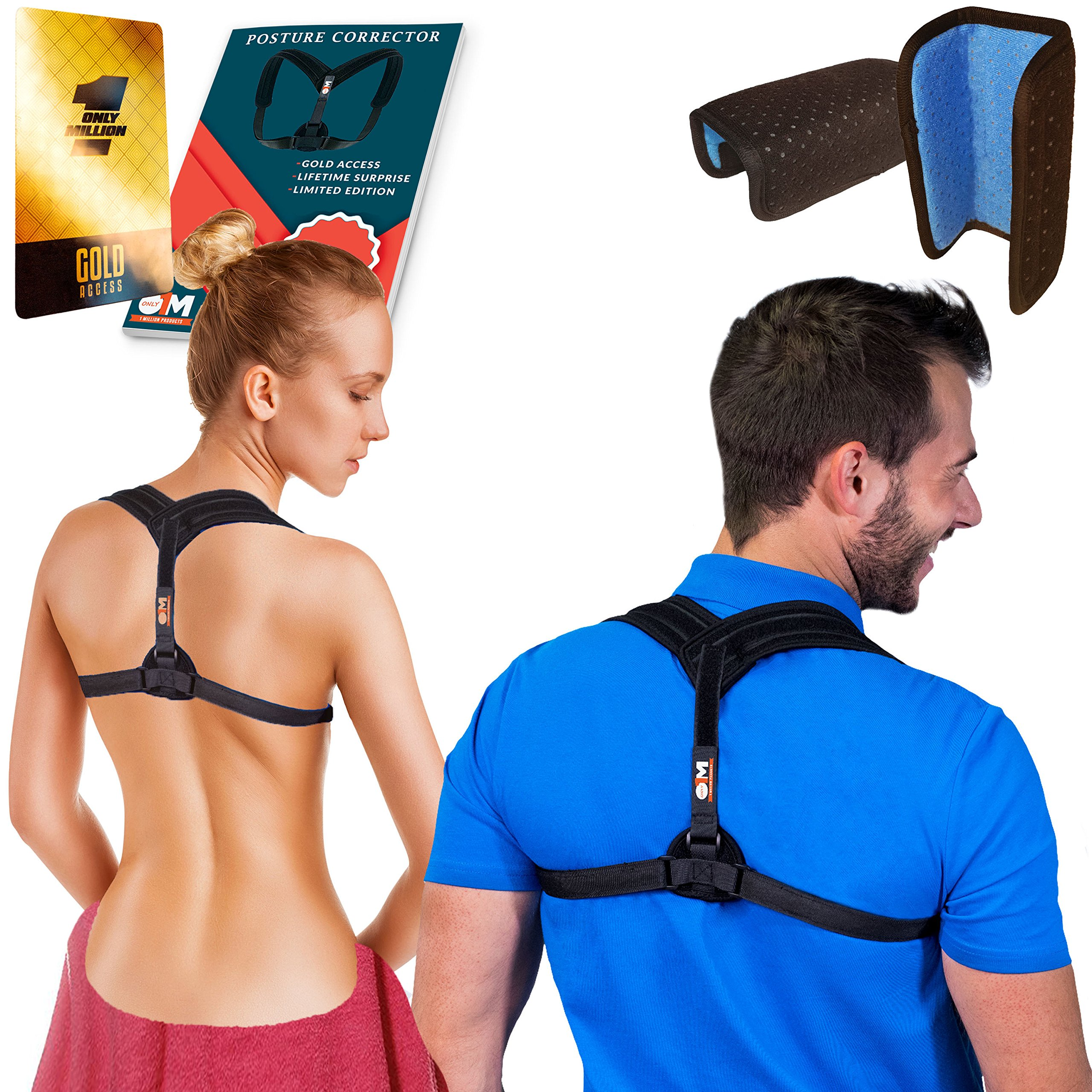 Posture Corrector for Women & Men for Fix Upper Back Pain – Adjustable Posture Brace for Improve Bad Posture | Thoracic Kyphosis Brace | Posture Support (Black/Black)