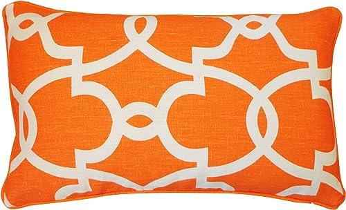 Jiti Dean Linen Throw Pillow, 12 by 20-Inch, Orange Cream