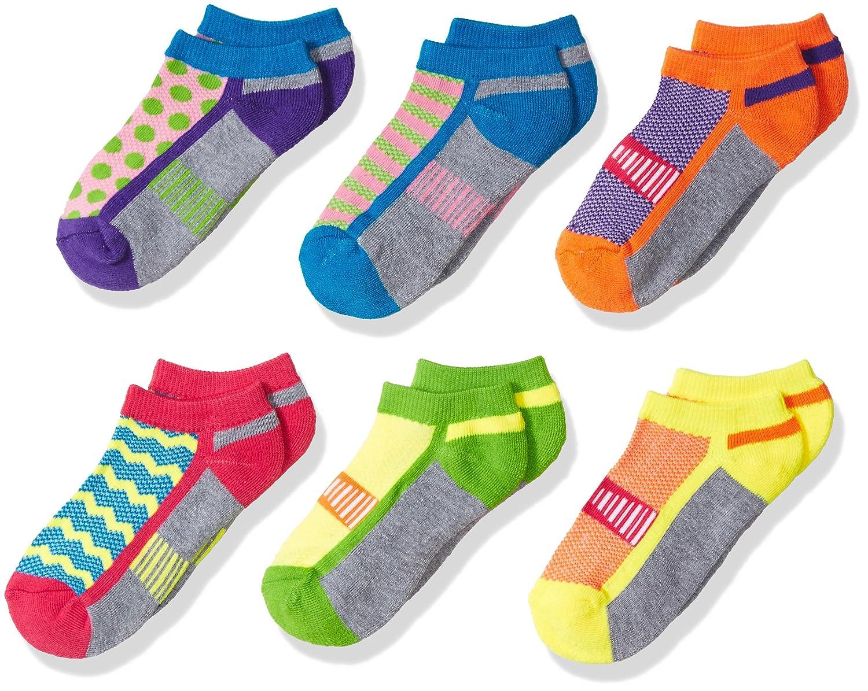 Jefferies Socks Girls Big Sporty Half Cushion Low Cut Socks 6 Pack