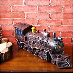 Hiawbon Resin Antique Ornaments Nostalgic Locomotive Figurine Photography Prop Train Crafts Gifts for Home Decor