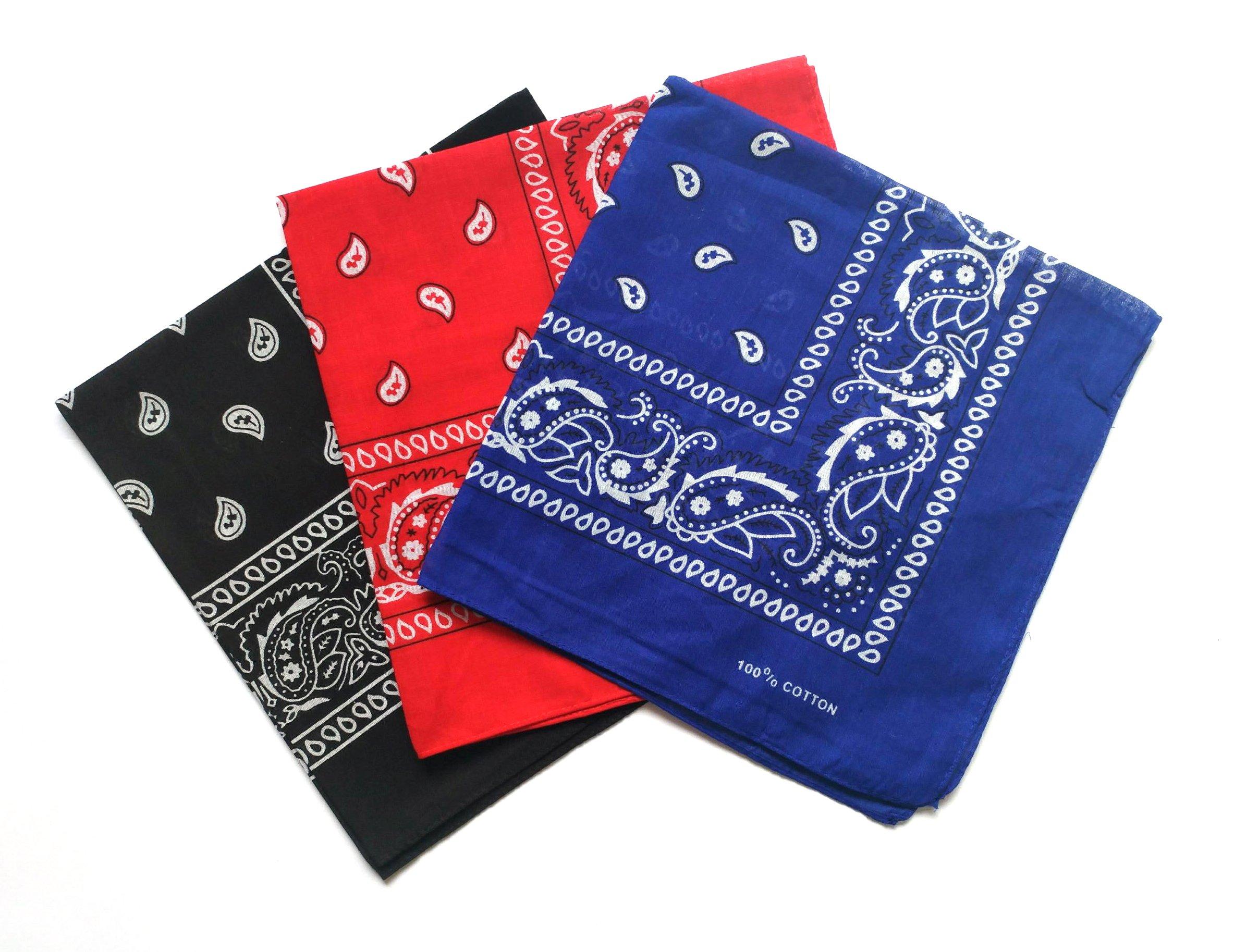 ComboCube 12 Pack Multi-Purpose Cotton Paisley Cowboy Bandanas Headband for Men and Women,Black&Blue&Red