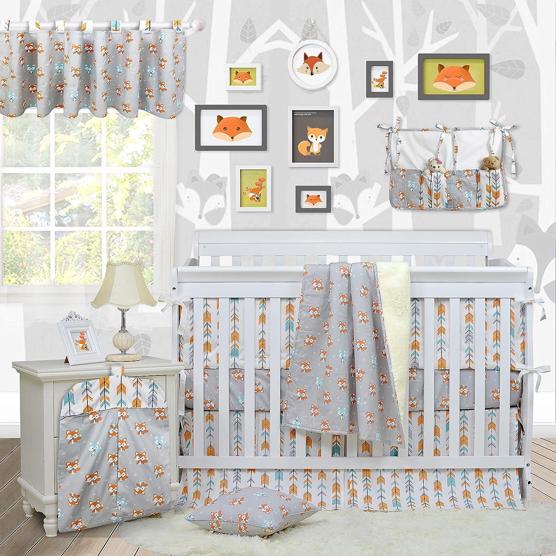 Brandream Woodland Crib Bedding Sets for Boys with Bumpers, Fox Arrow Baby Girl Nursery Bedding,Unisex,11 Pieces, 100% Hypoallergenic Cotton