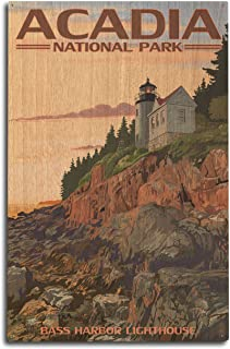 product image for Lantern Press Acadia National Park, Maine - Bass Harbor Lighthouse (10x15 Wood Wall Sign, Wall Decor Ready to Hang)