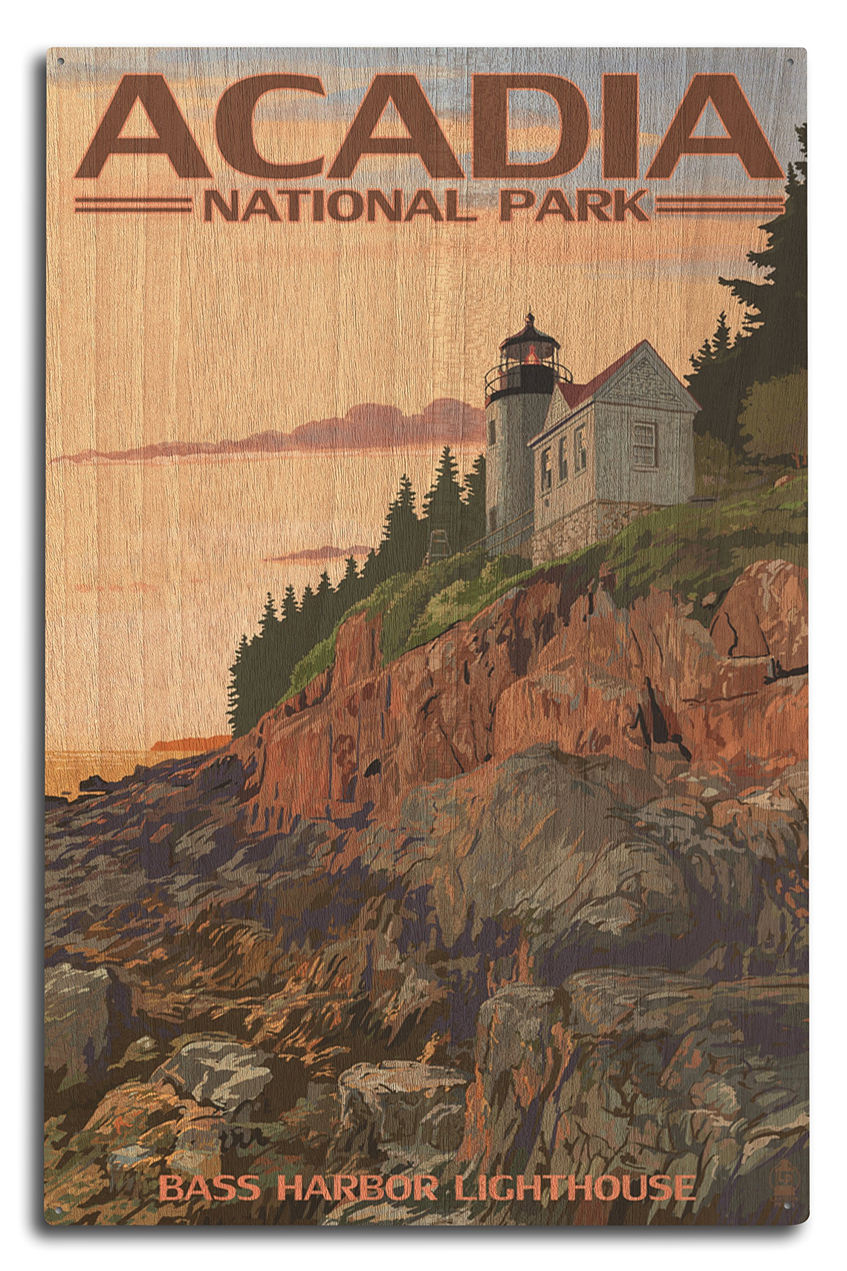 Lantern Press Acadia National Park, Maine - Bass Harbor Lighthouse (10x15 Wood Wall Sign, Wall Decor Ready to Hang)