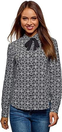 oodji Ultra Mujer Camisa de Algodón con Lazos: Amazon.es: Ropa y accesorios