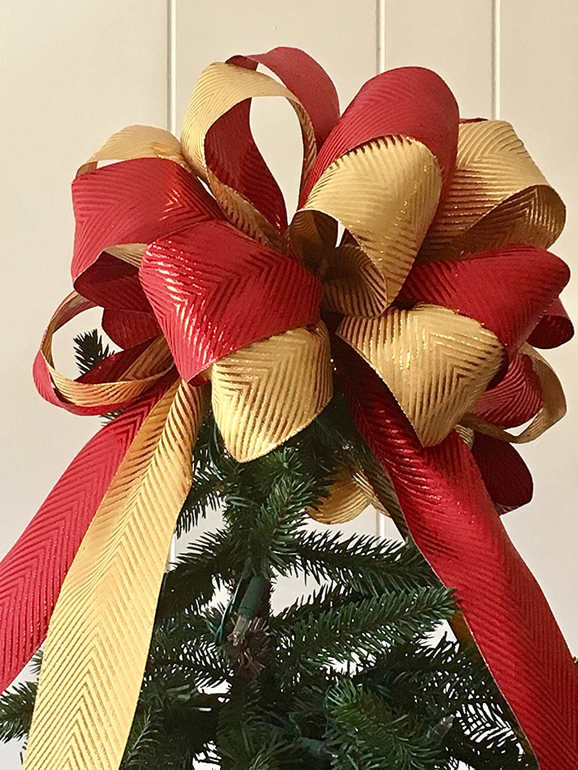 Metallic Luxe Tree Topper Bow Large RED & GOLD / The Frosty Collection / Custom Bows By Jami