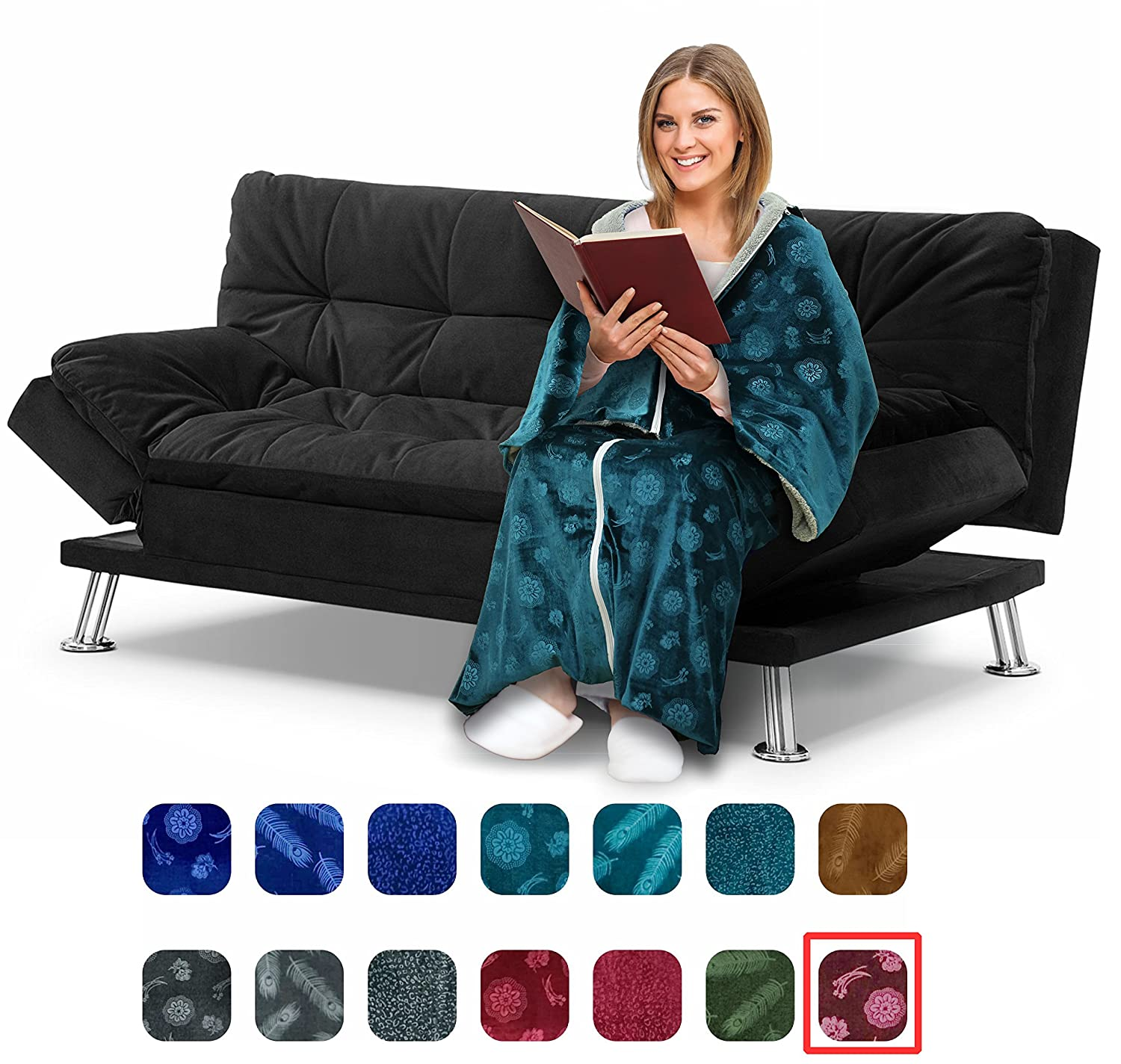 Wheelchairs Extra Soft Plush Throw Blanket or Watching TV Ideal for Elderly /& Handicap Clothing Cōzee Deluxe Wearable Blanket for Adults Cozy Emerald-Feathers Elegant