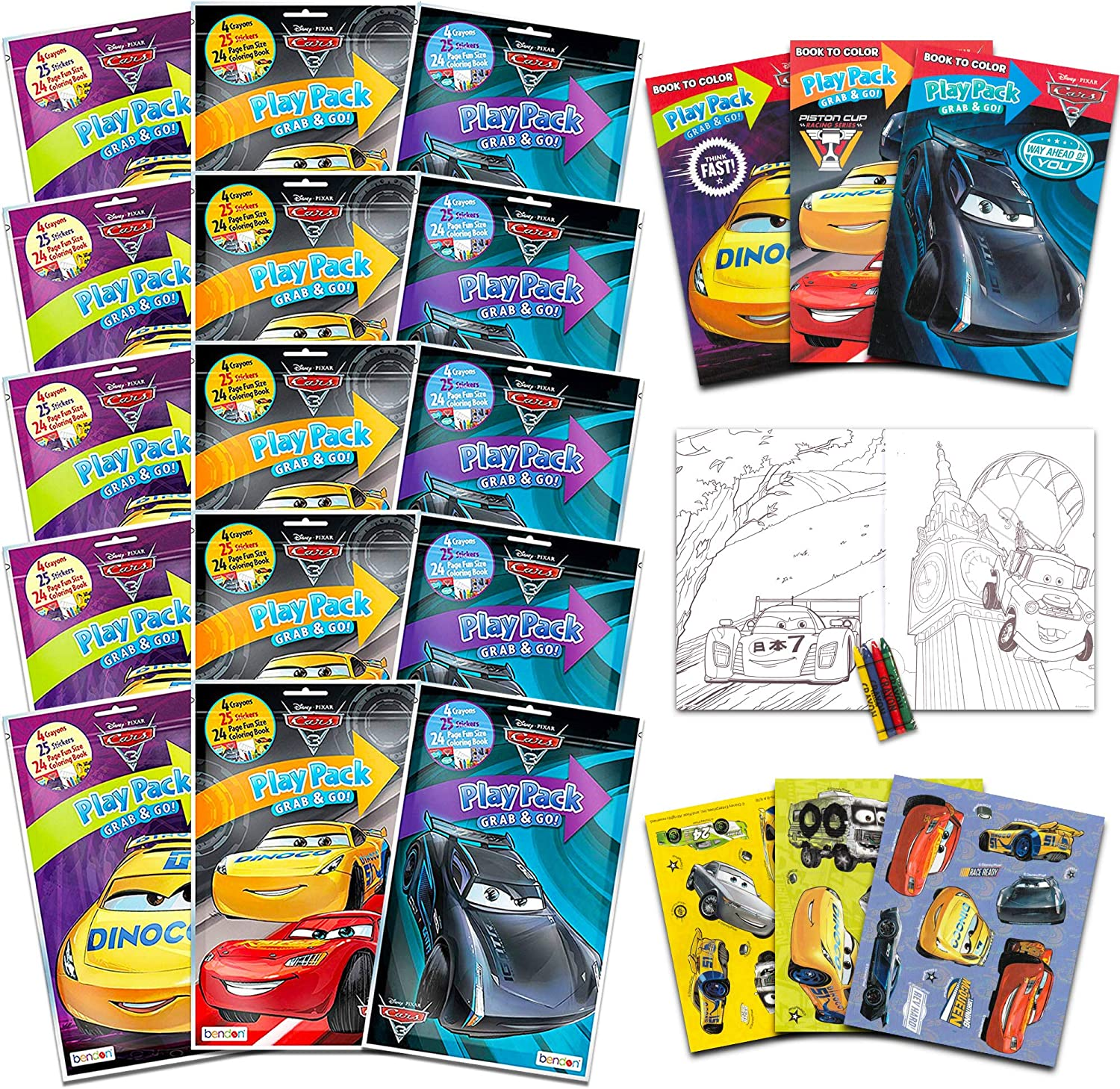 Cars 3 Play Pack Colouring Set Disney Pixars Cars Gift Favour
