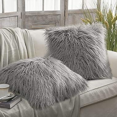 PHANTOSCOPE Set of 2 Grey Decorative New Luxury Series Merino Style Fur Throw Pillow Case Cushion Cover 18  x 18  45cm x 45cm