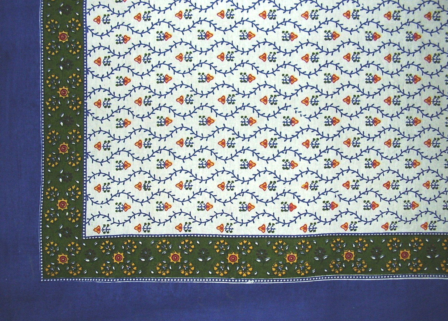 India Arts Buti Print Square Cotton Tablecloth 70'' x 70'' Blue