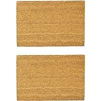 Nicola Spring Non-Slip Natural Coir Door Mats - 60 x 90cm - Plain - Pack of 2 PVC Backed Doormats